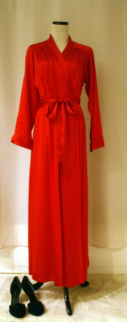 vintage red silk neiman marcus robe/dress.