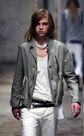 cloak s/s 2004 - gray leather jacket